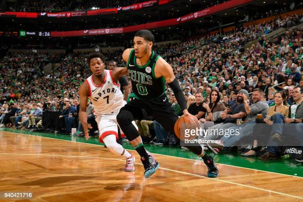 Jayson Tatum of the Boston Celtics handles the ball against the Toronto Raptors on March 31 2018 at the TD Garden in Boston Massachusetts NOTE TO...