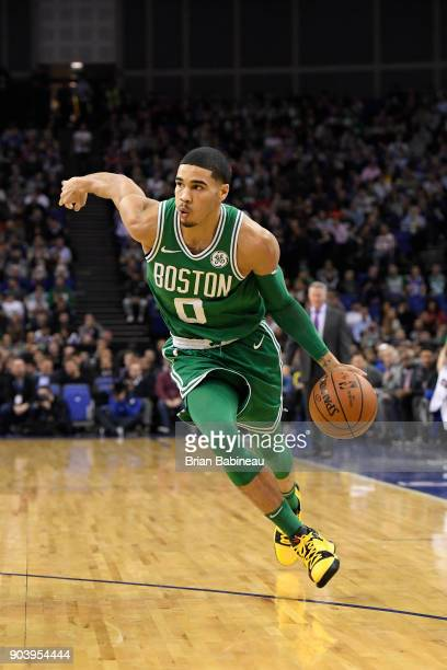Jayson Tatum of the Boston Celtics handles the ball against the Philadelphia 76ers during the 2018 NBA London Game at the 02 Arena on January 11 2018...