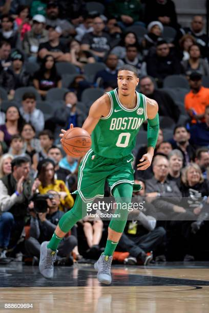 Jayson Tatum of the Boston Celtics handles the ball against the San Antonio Spurs on December 8 2017 at the ATT Center in San Antonio Texas NOTE TO...