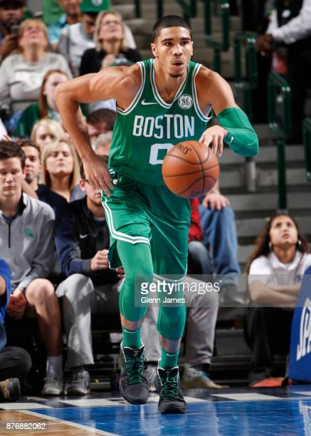 Jayson Tatum of the Boston Celtics handles the ball during the game against the Dallas Mavericks on November 20 2017 at the American Airlines Center...