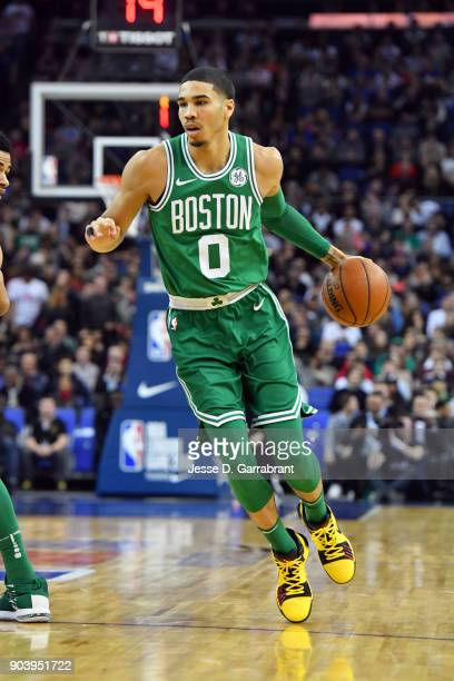 Jayson Tatum of the Boston Celtics handles the ball during the game against the Philadelphia 76ers on January 11 2018 at The O2 Arena in London...