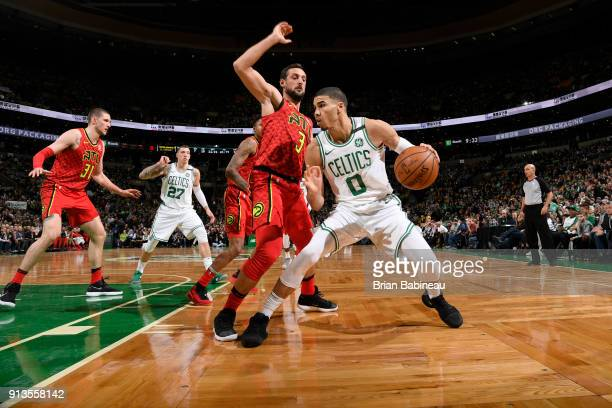 Jayson Tatum of the Boston Celtics handles the ball during the game against the Atlanta Hawks on February 2 2018 at the TD Garden in Boston...