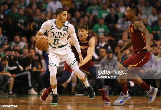 221b65e75a25 Jayson Tatum of the Boston Celtics handles the ball in the first half  against the Cleveland