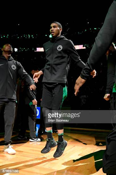 Jayson Tatum of the Boston Celtics is introduced prior to the game against the Orlando Magic on November 24 2017 at the TD Garden in Boston...
