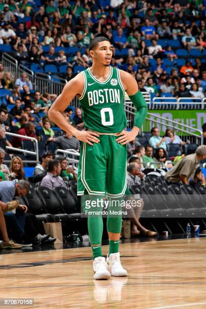 Jayson Tatum of the Boston Celtics looks on against the Orlando Magic on November 5 2017 at Amway Center in Orlando Florida NOTE TO USER User...