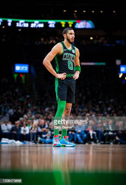 Jayson Tatum of the Boston Celtics looks on during the game against the Oklahoma City Thunder on March 8 2020 at the TD Garden in Boston...