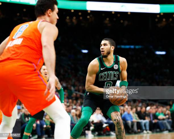 Jayson Tatum of the Boston Celtics looks to shoot during the fourth quarter of the game against the Oklahoma City Thunder at TD Garden on March 08...