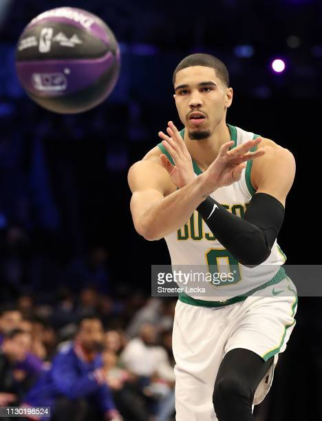 Jayson Tatum of the Boston Celtics participates during the Taco Bell Skills Challenge as part of the 2019 NBA AllStar Weekend at Spectrum Center on...
