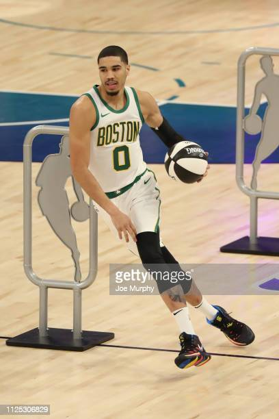 Jayson Tatum of the Boston Celtics participates in the 2019 Taco Bell Skills Challenge as part of State Farm AllStar Saturday Night on February 16...