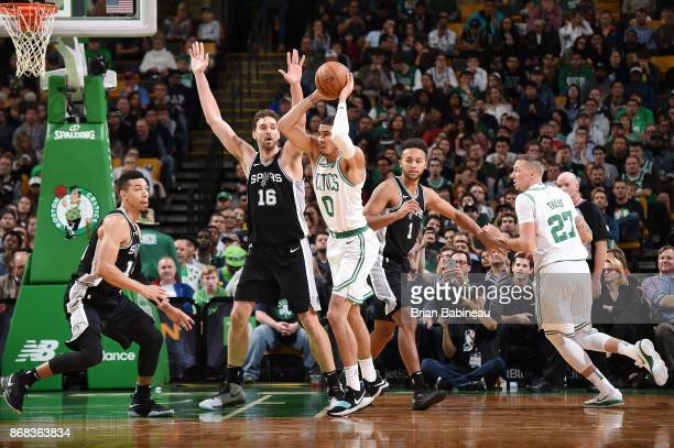 Jayson Tatum of the Boston Celtics passes the ball against the San Antonio Spurs on October 30 2017 at the TD Garden in Boston Massachusetts NOTE TO...