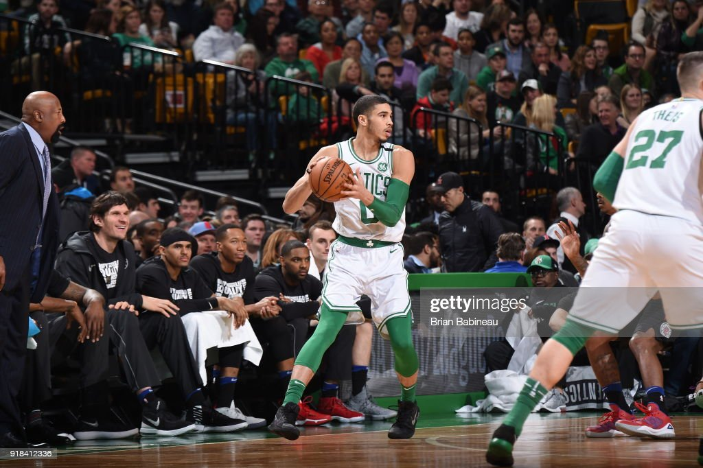 Jayson Tatum #0 of the Boston Celtics passes the ball during the game against the LA Clippers on February 14, 2018 at the TD Garden in Boston, Massachusetts.