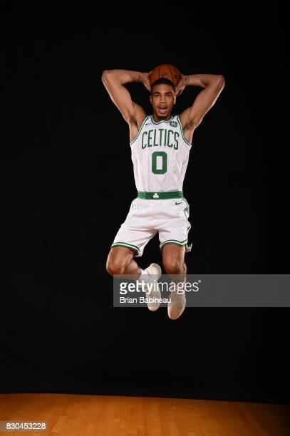 Jayson Tatum of the Boston Celtics poses for a photo during the 2017 NBA Rookie Photo Shoot at MSG training center on August 11 2017 in Tarrytown New...