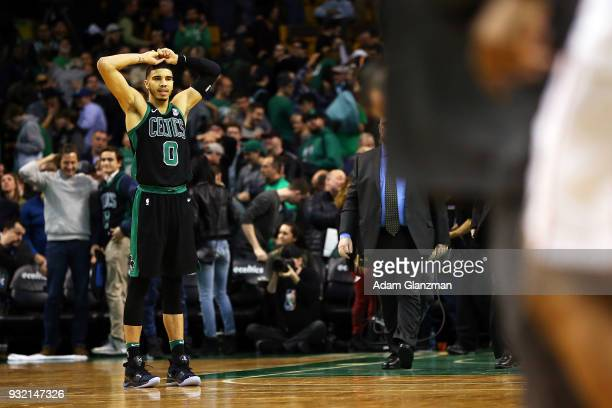 Jayson Tatum of the Boston Celtics reacts after a loss to the Washington Wizards at TD Garden on March 14 2018 in Boston Massachusetts NOTE TO USER...