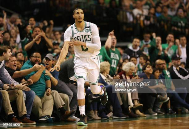 Jayson Tatum of the Boston Celtics reacts after making a basket in the first half against the Cleveland Cavaliers during Game Two of the 2018 NBA...