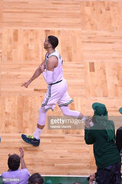Jayson Tatum of the Boston Celtics reacts during the game against of the Cleveland Cavaliers on Game Five of the 2018 NBA Eastern Conference Finals...