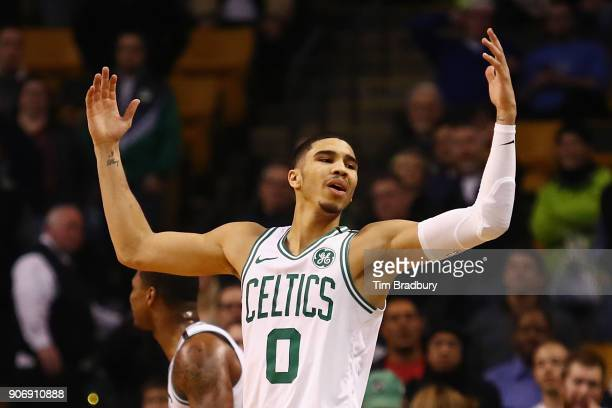 Jayson Tatum of the Boston Celtics reacts to a call during the fourth quarter against the Philadelphia 76ers at TD Garden on January 18 2018 in...