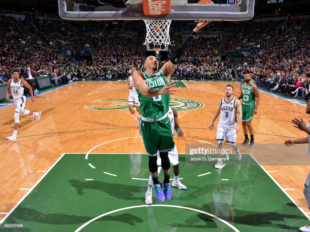 Jayson Tatum #0 of the Boston Celtics shoot shoots the ball against the Milwaukee Bucks in Game Six of Round One of the 2018 NBA Playoffs on April 26, 2018 at the BMO Harris Bradley Center in Milwaukee, Wisconsin.