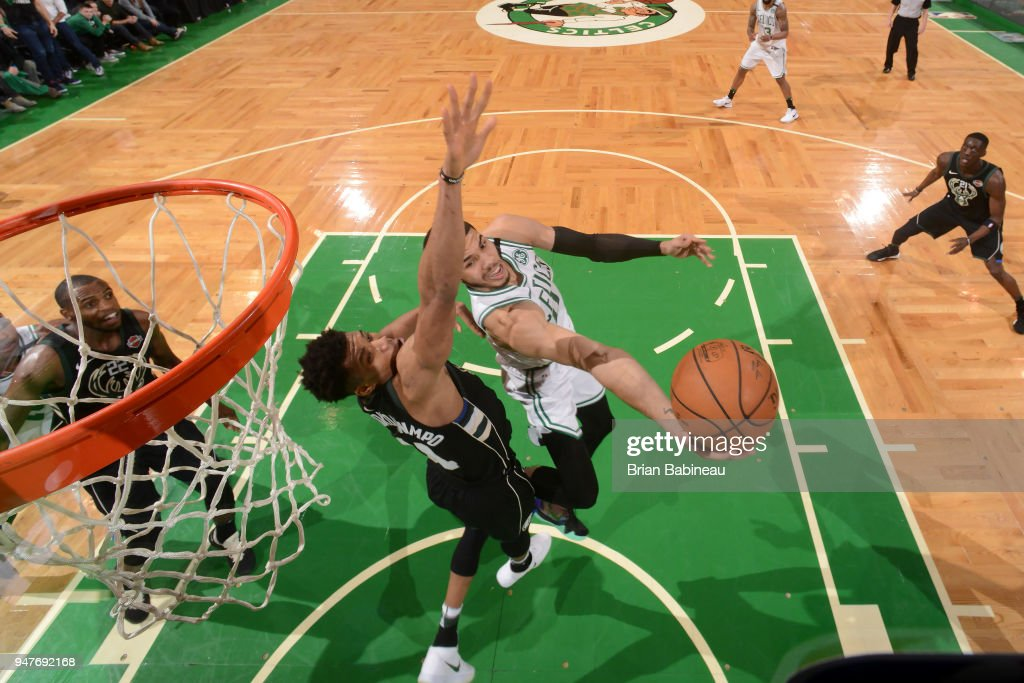 Jayson Tatum #0 of the Boston Celtics shoots a layup against the Milwaukee Bucks in Game One of Round One during the 2018 NBA Playoffs on April 15, 2018 at TD Garden in Boston, Massachusetts.