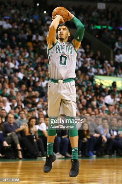 Jayson Tatum of the Boston Celtics shoots during a game against the Cleveland Cavaliers at TD Garden on February 11 2018 in Boston Massachusetts NOTE...
