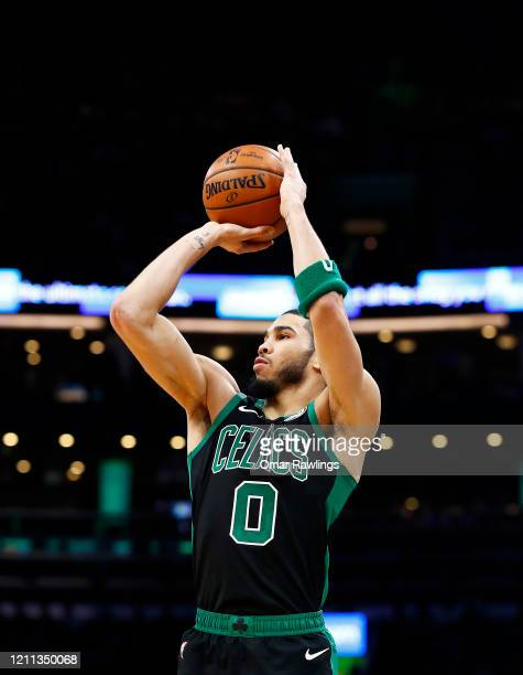 Jayson Tatum of the Boston Celtics shoots during the third quarter of the game against the Oklahoma City Thunder at TD Garden on March 08 2020 in...