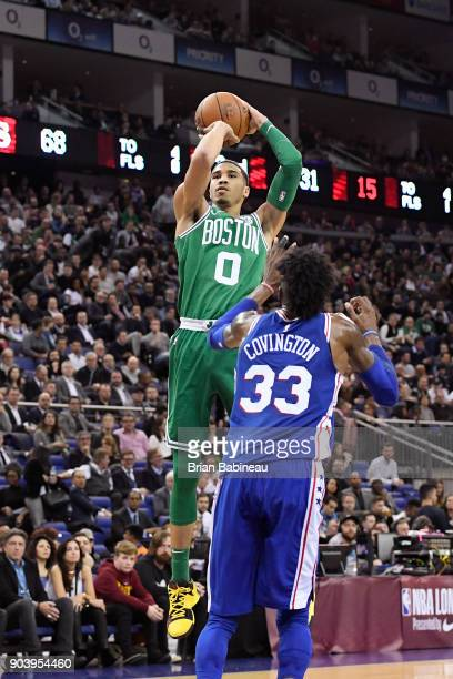 Jayson Tatum of the Boston Celtics shoots the ball against the Philadelphia 76ers during the 2018 NBA London Game at the 02 Arena on January 11 2018...