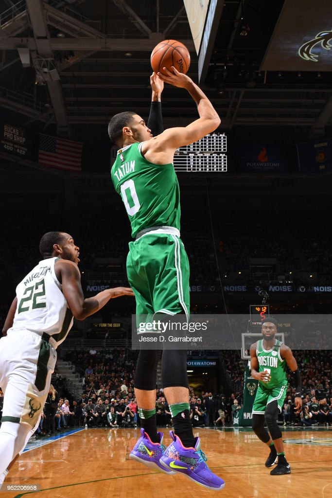 Jayson Tatum #0 of the Boston Celtics shoots the ball against the Milwaukee Bucks in Game Six of Round One of the 2018 NBA Playoffs on April 26, 2018 at the BMO Harris Bradley Center in Milwaukee, Wisconsin.