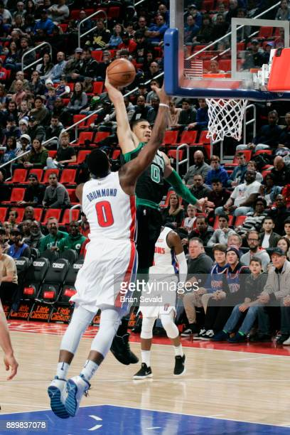 Jayson Tatum of the Boston Celtics shoots the ball against the Detroit Pistons on December 10 2017 at Little Caesars Arena in Detroit Michigan NOTE...