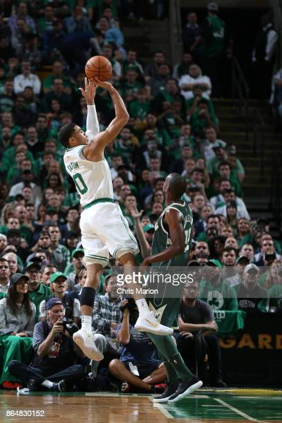Jayson Tatum of the Boston Celtics shoots the ball during the game against the Milwaukee Bucks on October 18 2017 at the TD Garden in Boston...