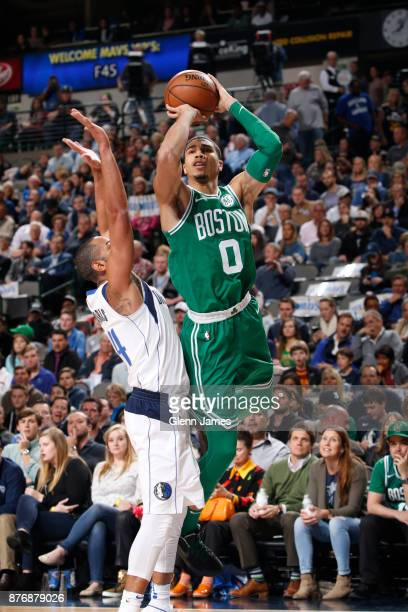 Jayson Tatum of the Boston Celtics shoots the ball during the game against the Dallas Mavericks on November 20 2017 at the American Airlines Center...