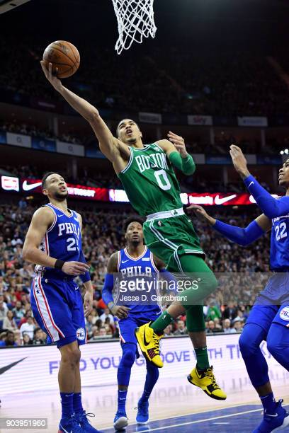Jayson Tatum of the Boston Celtics shoots the ball during the game against the Philadelphia 76ers on January 11 2018 at The O2 Arena in London...