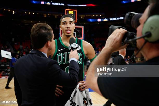 Jayson Tatum of the Boston Celtics speaks with media after game against the Detroit Pistons on December 10 2017 at Little Caesars Arena in Detroit...