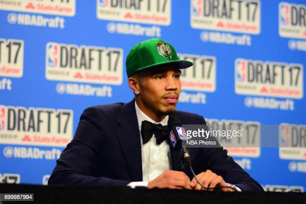 Jayson Tatum of the Boston Celtics talks to the media after being the third overall pick at the 2017 NBA Draft on June 22 2017 at Barclays Center in...
