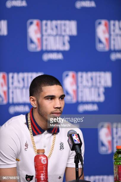 Jayson Tatum of the Boston Celtics talks to the media following Game Five of the 2018 NBA Eastern Conference Finals against the Cleveland Cavaliers...