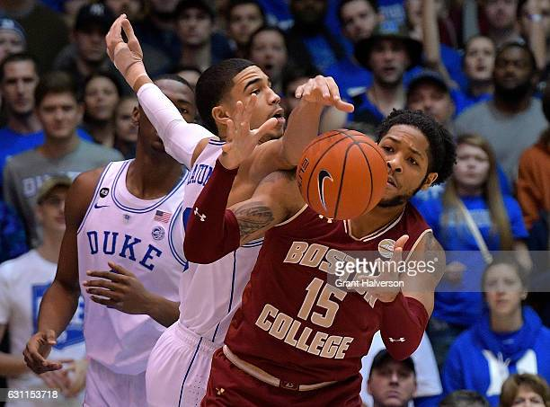 Jayson Tatum of the Duke Blue Devils battles Mo Jeffers of the Boston College Eagles for a rebound during the game at Cameron Indoor Stadium on...