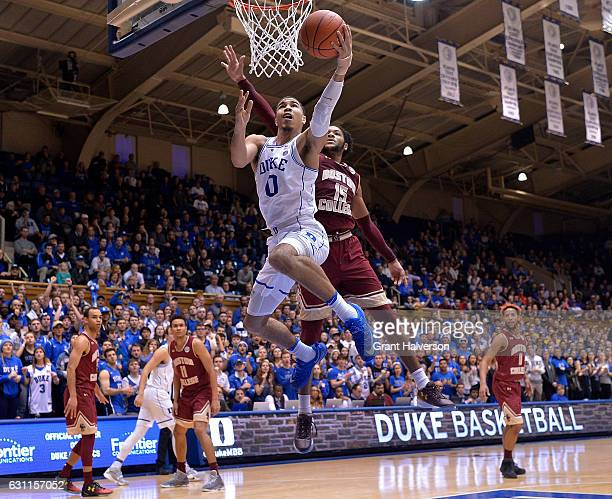 Jayson Tatum of the Duke Blue Devils drives against Mo Jeffers of the Boston College Eagles during the game at Cameron Indoor Stadium on January 7...