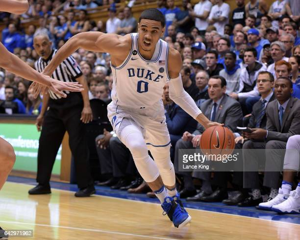 Jayson Tatum of the Duke Blue Devils drives against the Wake Forest Demon Deacons at Cameron Indoor Stadium on February 18 2017 in Durham North...