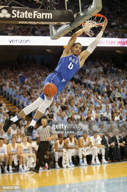 Jayson Tatum of the Duke Blue Devils dunks the ball against the North Carolina Tar Heels during their game at the Dean Smith Center on March 4 2017...