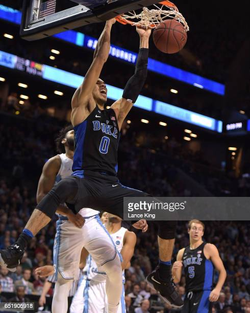 Jayson Tatum of the Duke Blue Devils dunks the ball against the North Carolina Tar Heels during the semifinals of the ACC Basketball Tournament at...