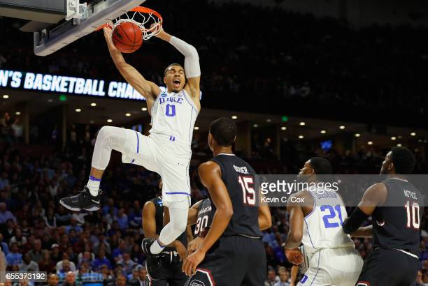 Jayson Tatum of the Duke Blue Devils dunks the ball in the first half against the South Carolina Gamecocks during the second round of the 2017 NCAA...