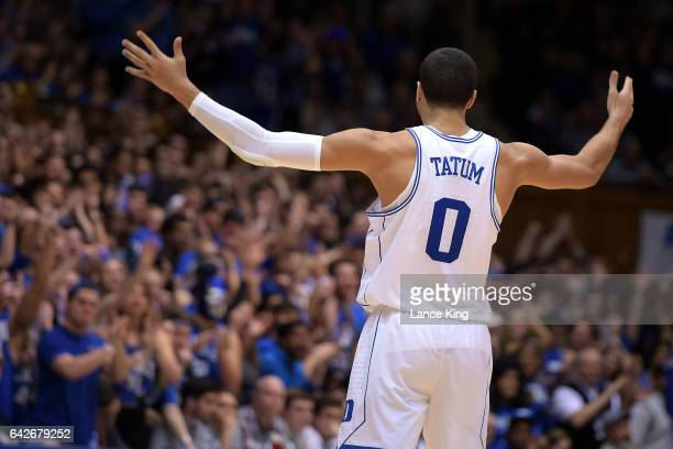 Jayson Tatum of the Duke Blue Devils reacts during their game against the Wake Forest Demon Deacons at Cameron Indoor Stadium on February 18 2017 in...
