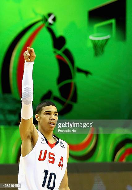 Jayson Tatum of the United States reacts during the FIBA U17 World Championships Group Match between Japan and United States of America at Al Shabab...