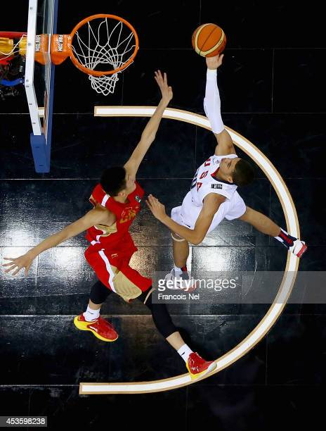 Jayson Tatum of the United States shoots against Hao Fu of China during the FIBA U17 World Championships QuarterFinal match between China and the...