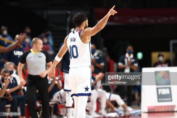 Jayson Tatum of the USA Men's National Team calls out a play against Iran during the 2020 Tokyo Olympics on July 28, 2021 at the Saitama Super Arena...