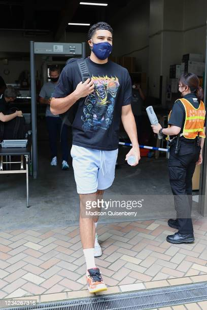 Jayson Tatum of the USA Men's National Team departs for the game against Iran during the 2020 Tokyo Olympics on July 28, 2021 in Tokyo, Japan. NOTE...