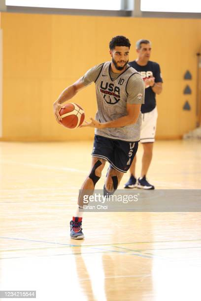 Jayson Tatum of the USA Men's National Team dribbles during the USA Basketball Men's National Team Practice on July 25, 2021 in Tokyo, Japan. NOTE TO...