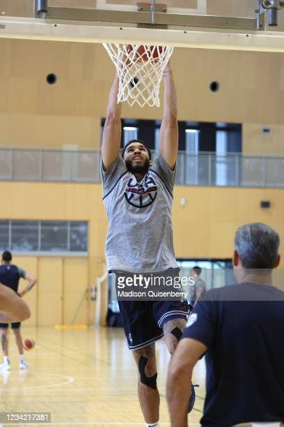 Jayson Tatum of the USA Men's National Team drives to the basket during the USAB Men's National Team practice on July 26, 2021 in Tokyo, Japan. NOTE...