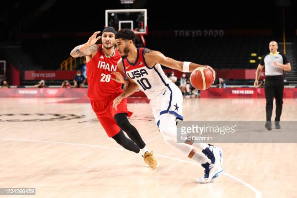 Jayson Tatum of the USA Men's National Team drives to the basket against the Iran Men's National Team during the 2020 Tokyo Olympics on July 28, 2021...