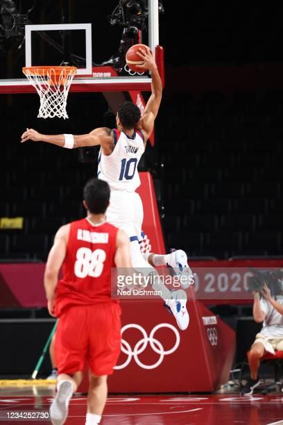 Jayson Tatum of the USA Men's National Team dunks against Iran during the 2020 Tokyo Olympics on July 28, 2021 at the Saitama Super Arena in Saitama,...
