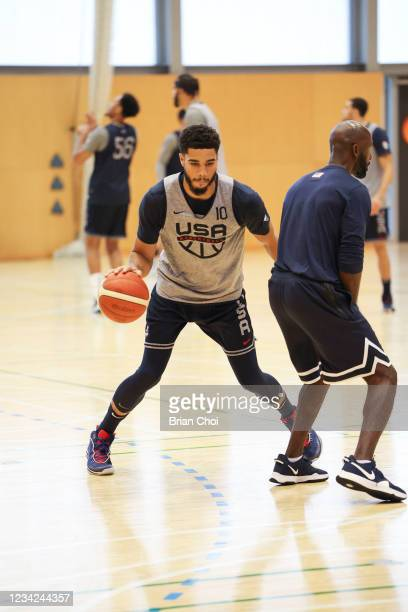 Jayson Tatum of the USA Men's National Team handles the ball during the USAB Men's National Team practice on July 27, 2021 in Tokyo, Japan. NOTE TO...