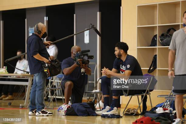 Jayson Tatum of the USA Men's National Team interviews during USAB Mens National Team practice on July 29, 2021 in Tokyo, Japan. NOTE TO USER: User...